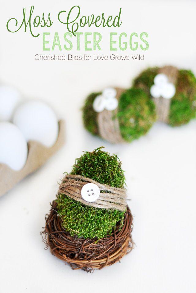 DIY Spring Decor Moss Covered Easter Eggs   LoveGrowsWild.com