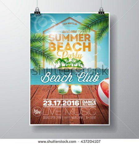 Vector Summer Beach Party Flyer Design with sunglasses on ocean landscape background. Typographic design on vintage wood. Eps10 illustration.