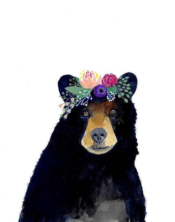 Forest friends no: 2 Black bear This is a print of my original watercolor painting. The colors are rich and vibrant and the print looks so much better