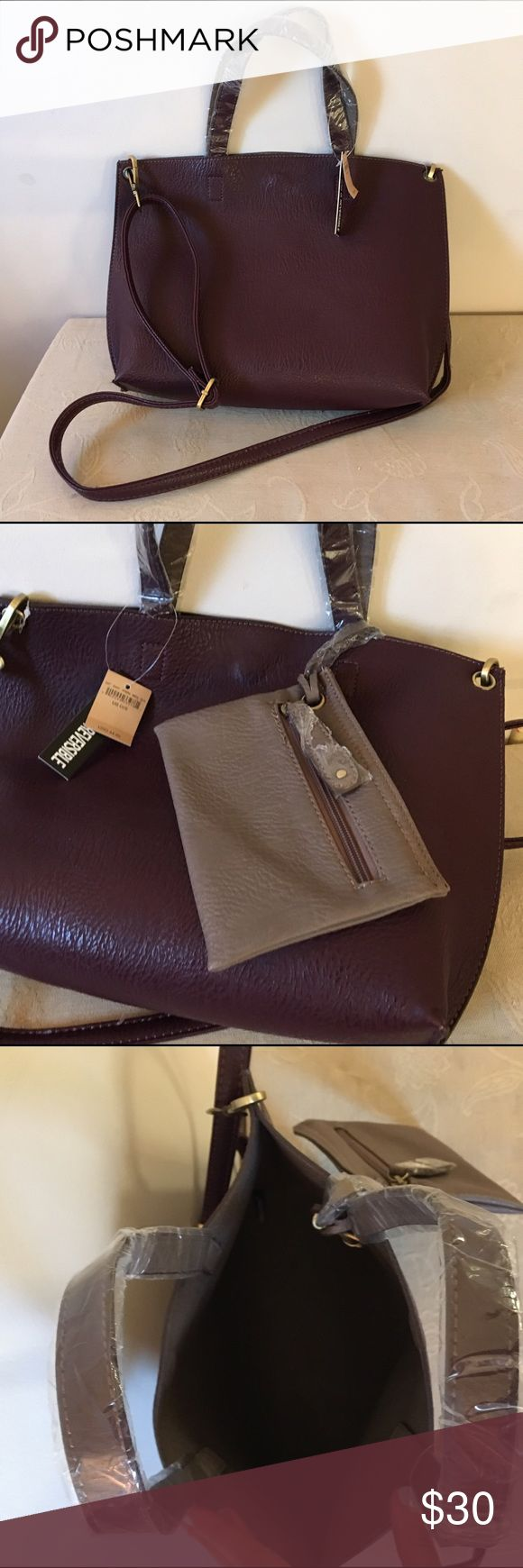 American eagle reversible tote bag Purple and grey reversible tote! Comes with small pouch in the second picture. Never worn!! American Eagle Outfitters Bags Totes