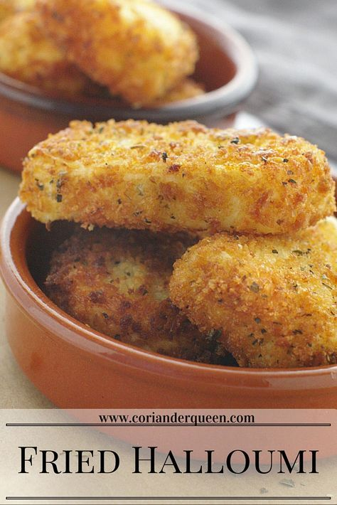 Fried halloumi cheese in oregano breadcrumbs - serve drizzled with a little honey. Delicious!