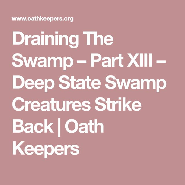 Draining The Swamp – Part XIII – Deep State Swamp Creatures Strike Back | Oath Keepers