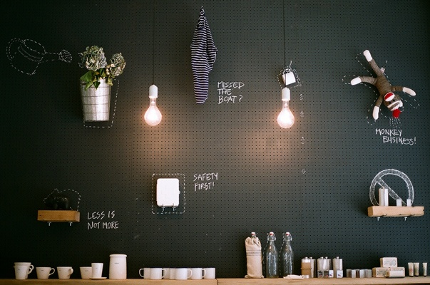 chalkboard pegboard. draw little frames, etc. around hanging prints at a craft fair.