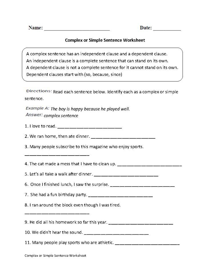 Simple Compound And Complex Sentences Worksheet 49 Printable 12
