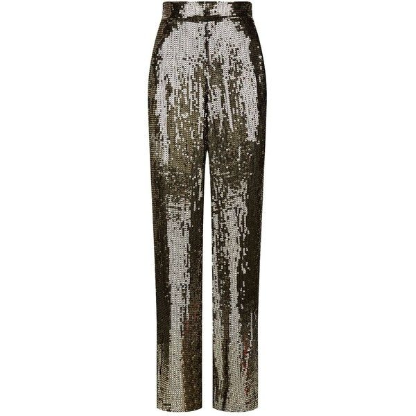 Alice + Olivia Racquel Sequin Trousers ($705) ❤ liked on Polyvore featuring pants, party pants, sequin embellished pants, alice olivia pants, wide leg pants and stretch waist pants