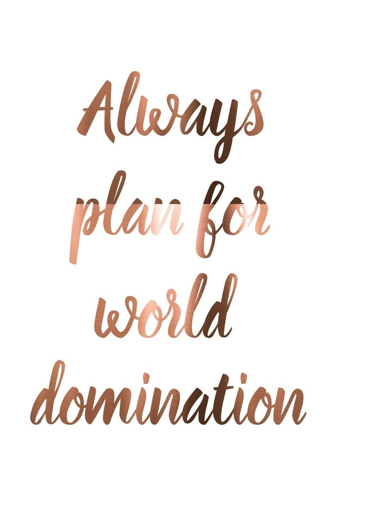 Copper Office Print Always Plan FOR World Domination Quirky Quote Typography