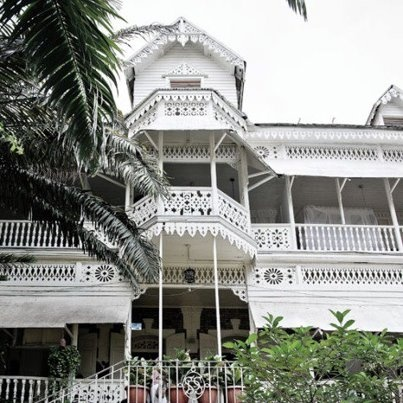Hotel Oloffson in Haiti...just down the street from my house. I would come here with my Parrain (godfather) for drinks and live music with RAM. Love this place