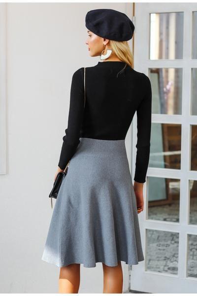 f46118480 Simplee Elegant A-line knitted women skirt fashion 2018 Autumn winter mid skirt  vintage High waist casual umbrella skirt female