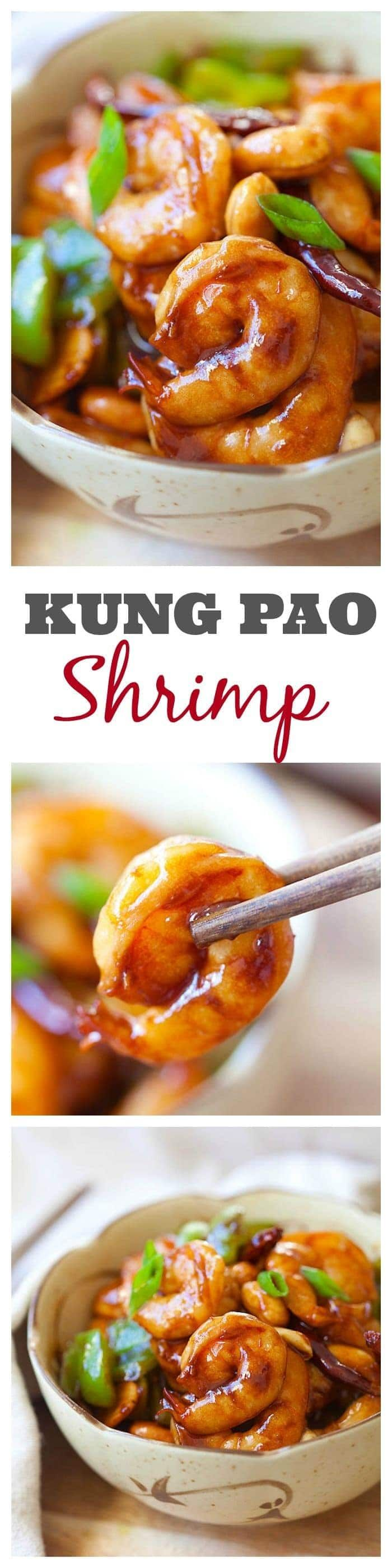 Kung Pao Shrimp recipe that is super easy to make at home, less than 30 minutes but much better and healthier than Kung Pao Shrimp takeout from restaurants | rasamalaysia.com