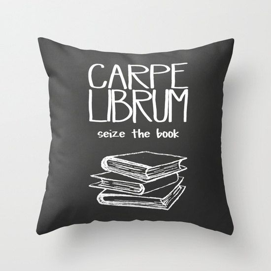 Curl Up and Seize the Book // Decorative Pillow Cover Carpe Librum Home Decor by unionandbrown