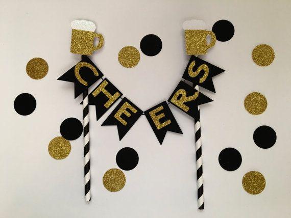 Cheers Cake Topper Cheers To 30 Years Beer Mug by WeddingWishlist