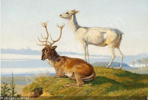 Johan Thomas Lundbye (1818-1848): En liggende Hjort og en staaende Hind, 1836