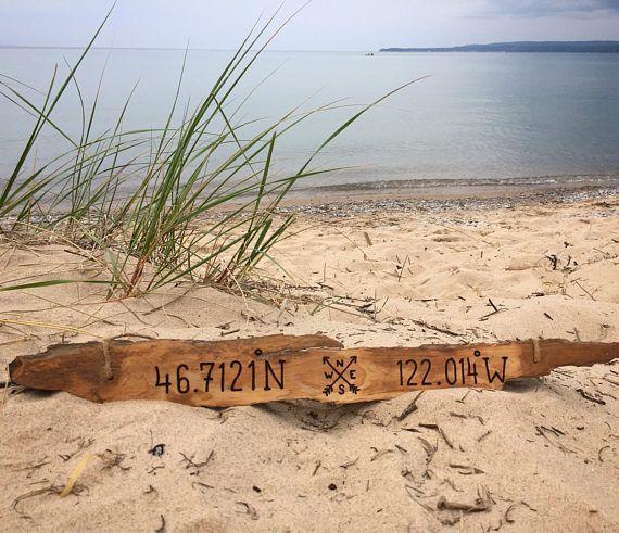 Personalized Gift Longitude Latitude Driftwood Sign