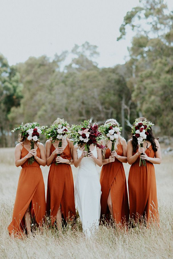 The Rust Color Is Gorgeous In This Bridal Party Photo Orange