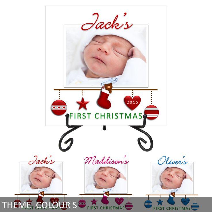 Personalised Baby's First Christmas Ceramic Photo Tile Print - Keepsake
