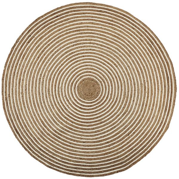 Serena & Lily Round Cotton & Jute Rug Natural Rg86 ($125) ❤ liked on Polyvore featuring home, rugs, handwoven rug, circular rug, round jute area rugs, serena & lily and circular area rugs