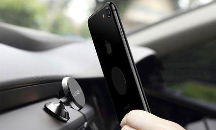 Eine unauffällige Halterung zur sicheren Fixierung von Handys im Auto, die durch 4 Neodym-Magnete gewährleistet wird