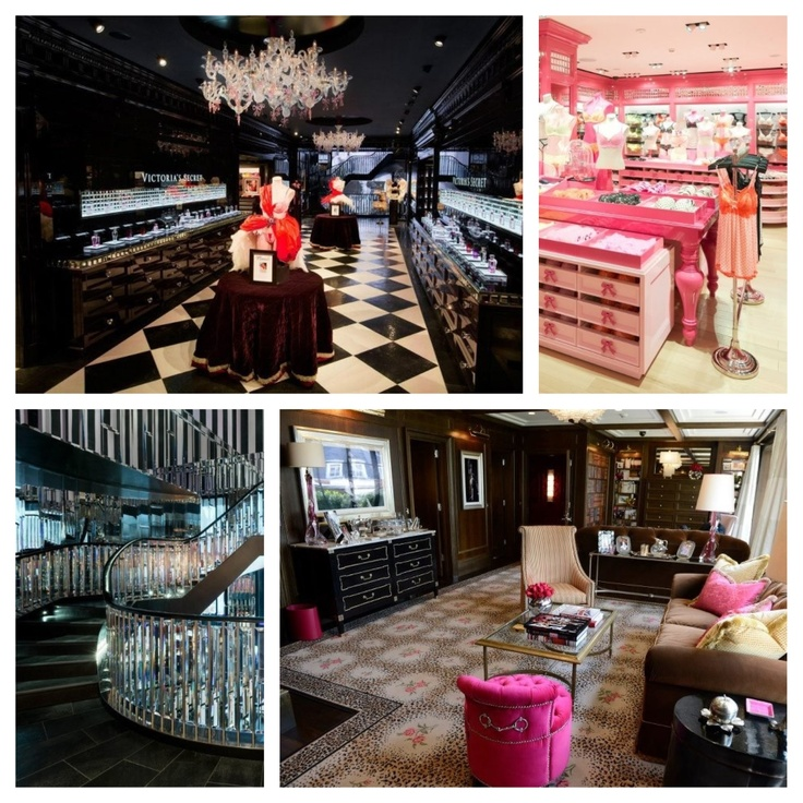 New London Victoria Secret store!!!! Inspiration for my new home!!! Glamorous baroque ♥ black & white stripes. Hot pink mouldings/doors. Tufted & baroque furniture. Leopard print carpet. Perfection!!