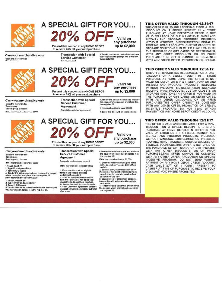 """Home Depot 20% OFF use at Lowe's, Ace & Menards 12/31/17. How you ask???. Simply call your local LOWES ACE MENARDS Ask them """"do you accept home depot coupons as advertised on your website """". THIS IS FOR (3) 20% OFF . 