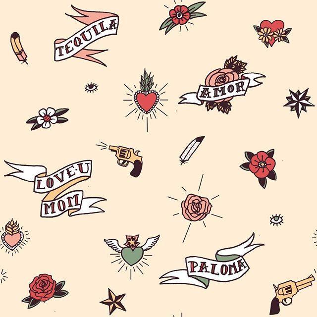 #spoonflower #surfacedesign #patterndesign #tattoo #oldschooltattoo #REPEATpattern #scandipan