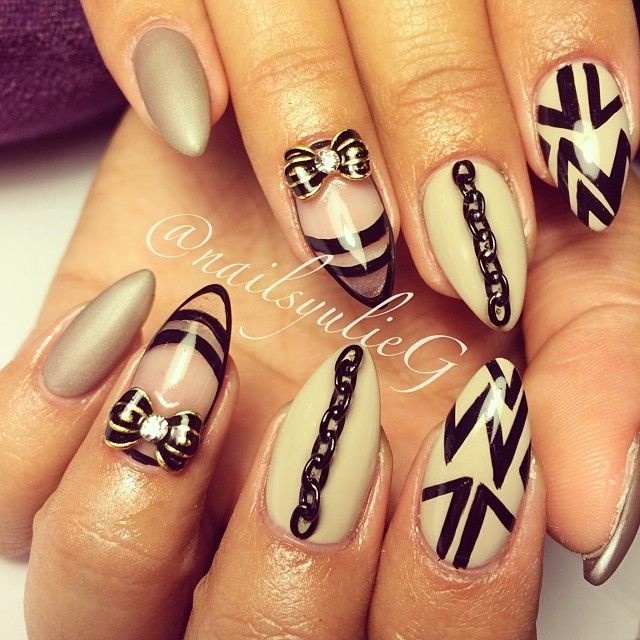 Nude and Black Chain Matte and Glass Almond Stiletto Nails @nailsyulieg Instagram photos | Webstagram  Amazingg