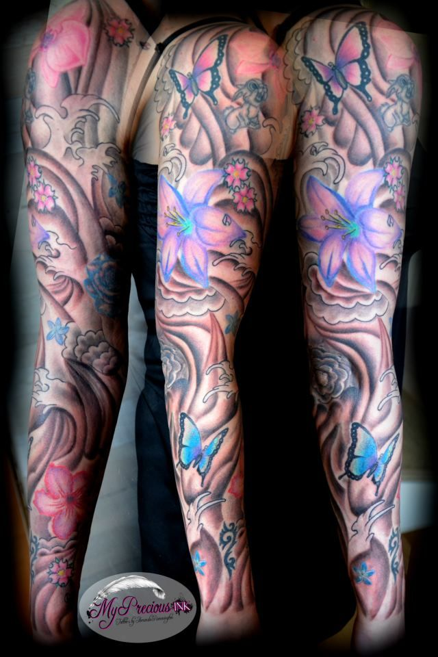 Girly flower sleeve tattoo images for Girly arm sleeve tattoos