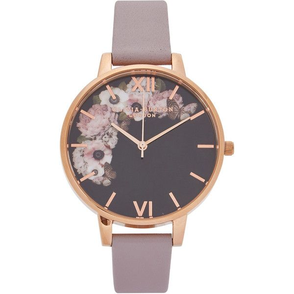 Olivia Burton Winter Garden rose gold-plated watch ($100) ❤ liked on Polyvore featuring jewelry, watches, olivia burton watches, floral watches, rose gold plated jewelry, quartz movement watches and floral jewelry