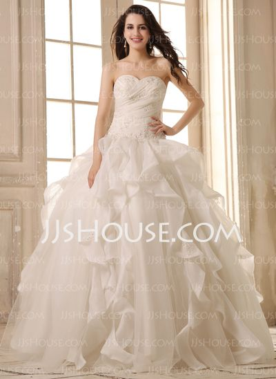 Wedding Dresses - $246.99 - Ball-Gown Sweetheart Floor-Length Organza Satin Wedding Dress With Ruffle Lace Beadwork (002026595) http://jjshouse.com/Ball-Gown-Sweetheart-Floor-Length-Organza-Satin-Wedding-Dress-With-Ruffle-Lace-Beadwork-002026595-g26595