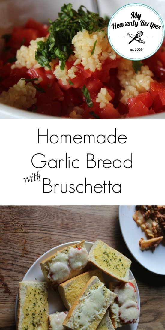 If you've got tomatoes from your garden and just not sure what to do with this you've got PIN this recipe for Homemade Garlic Bread with Bruschetta. It's amazing!