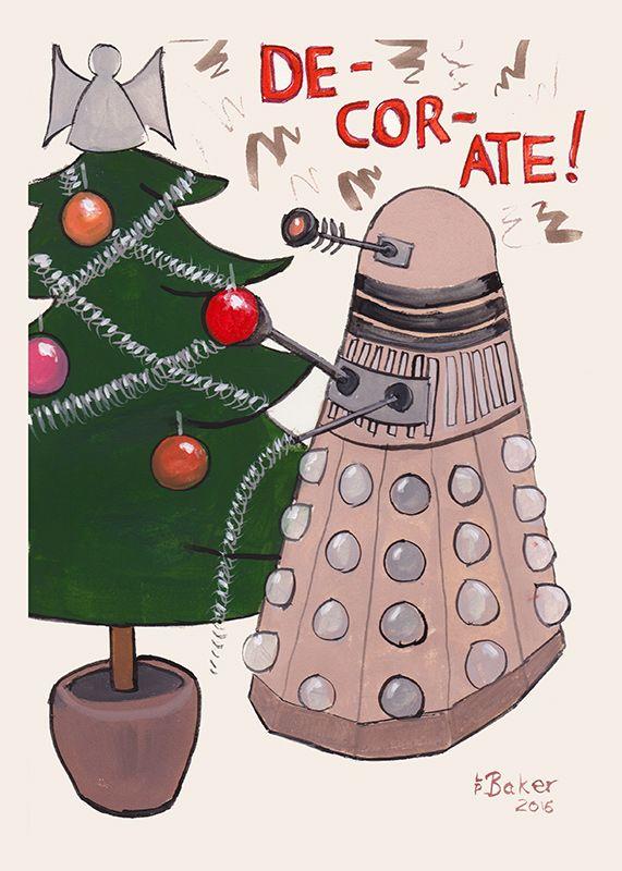 """Dalek Christmas"", gouache on paper, A4. #doctorwho #dalek #gouache"