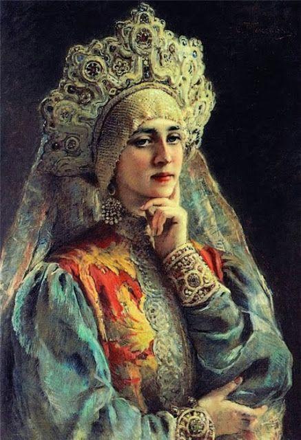 """Tocado ruso conocido como kokoshnik, es uno de los elementos más significativos y ricamente elaborados de la moda rusa entre el siglo XVIII y XIX. - Konstantin Makovski: """"Rerato de una joven"""""""