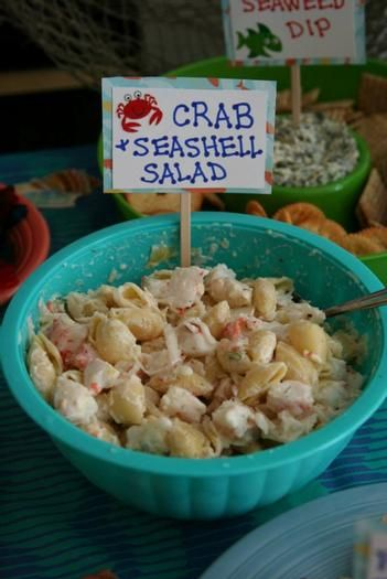 Under the Sea Crab Seashell Salad....Use your favorite pasta salad and add cute self made sign. Easy! Image Only