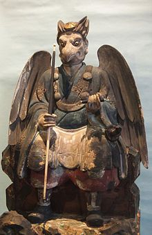 """Tengu (天狗, """"heavenly dogs"""") are a class of supernatural creatures found in Japanese folklore and culture. They are one of the best known yōkai (monster-spirits) and are sometimes worshipped as Shinto kami (revered spirits or gods). Although they take their name from a dog-like Chinese demon (Tiangou), the tengu were originally thought to take the forms of birds of prey, and they are traditionally depicted with both human and avian characteristics."""