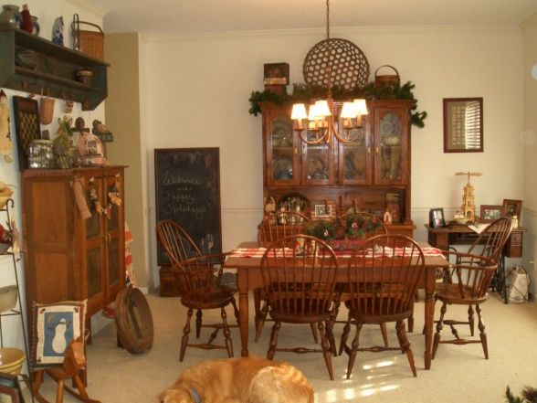 Country Prim Dining Rooms | Primitive Dining Room Ready For Christmas, My  Primitive Country Dining