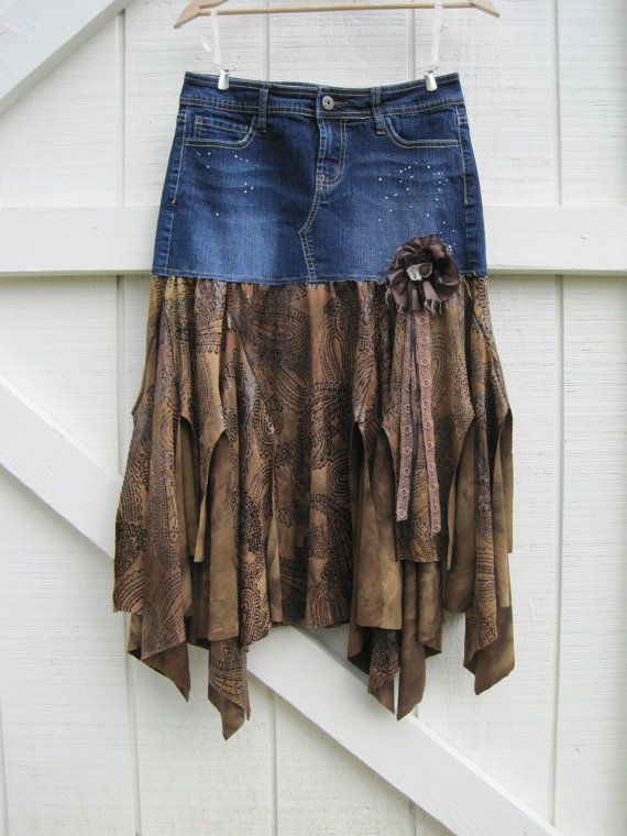 RESERVED for Janna...Boho cowgirl skirt Tattered by ShabyVintage