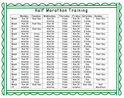 Half marathon training - a printable plan