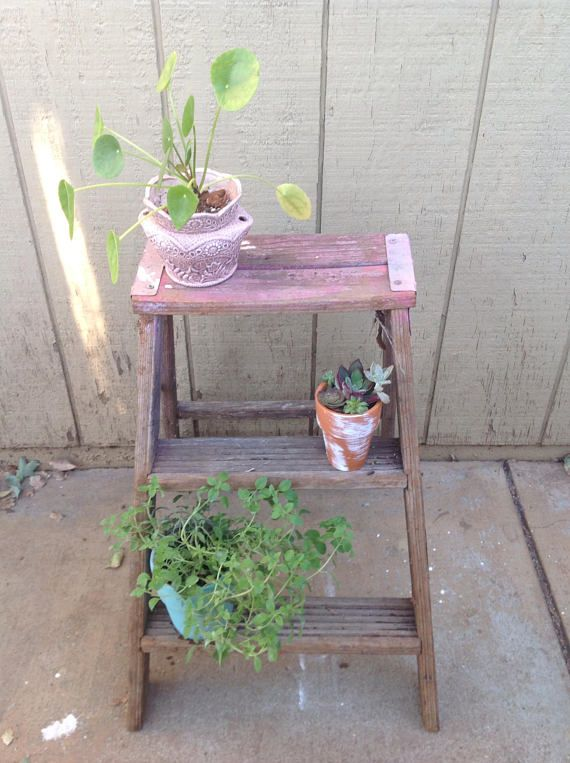 1970s Wooden ladder, 2 ft, Kitchen Stool Shabby Chic, Farmhouse decor, Wood Ladder, Step Ladder, Vintage Werner Ladder