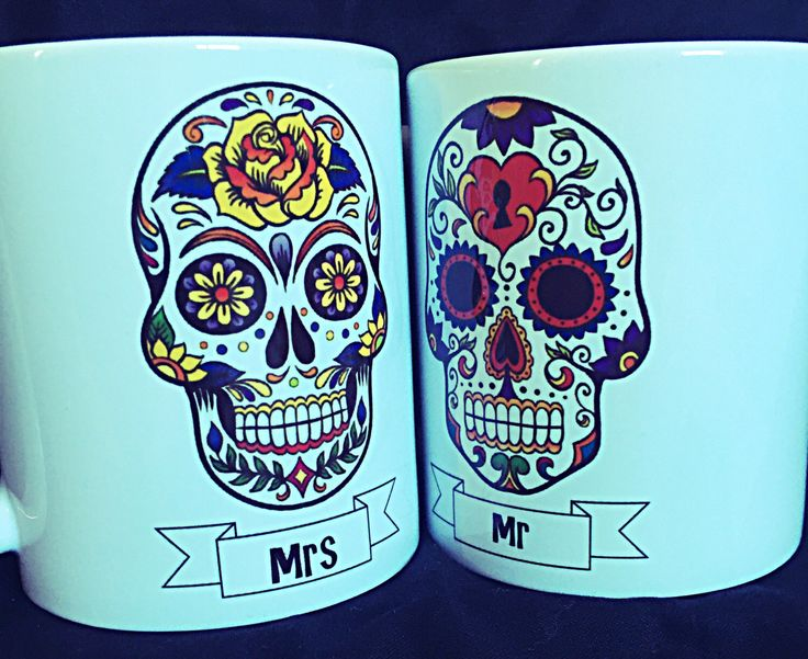 A personal favourite from my Etsy shop https://www.etsy.com/uk/listing/474198117/sugar-skull-mr-mrs-mugs-ideal-wedding