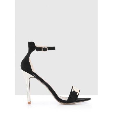Czarne sandałki z blaszką Cristina