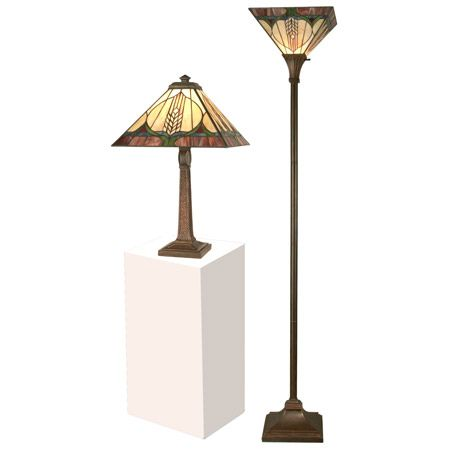 Interesting design in art glass craftsman table lamp and torchiere floor lamp set.