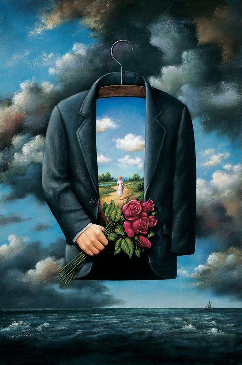 Rafal Olbinski. На вешалке в шкафу висит смешной пиджак. как падал на траву, он помнит… как лежал на худеньких плечах застенчивой одной, что нежно-горяча была тогда со мной. он помнит луг и лес, в руках букетик роз, и грозный вид небес, и ветер, что унёс её летящий шарф, ещё, ещё… внутри хранит он облака с кусочком неба и песок, тропинку вдаль, и запах той – родной, сказавшей мне тогда: какой пиджак смешной…  Автор: Галия Осень