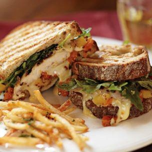 Grilled chicken and Camembert transforms a simple sandwich into something special. Serve
