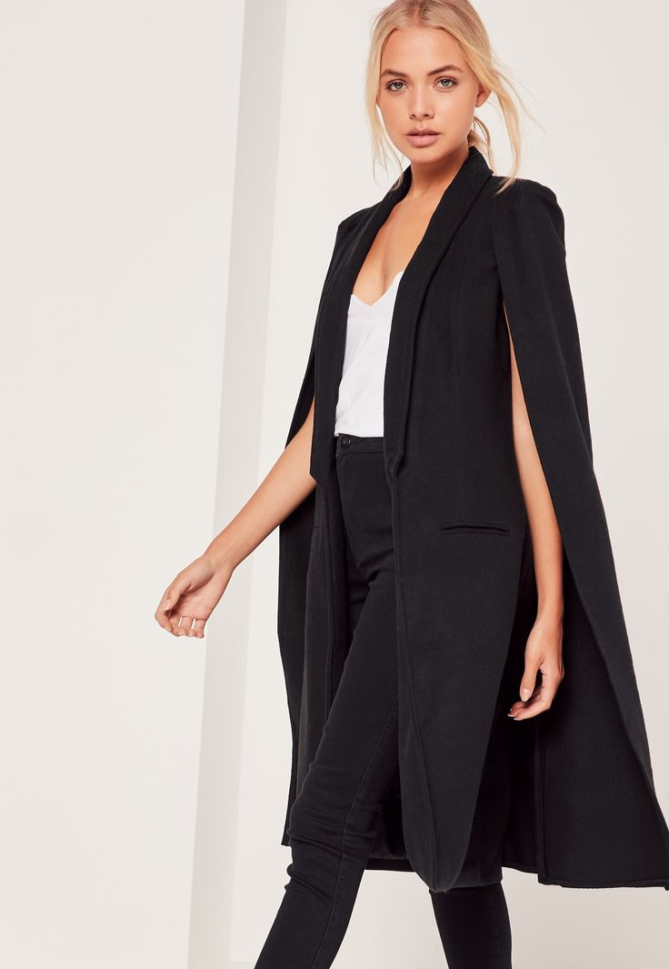 $97: Missguided - Faux Wool Cape Coat Black