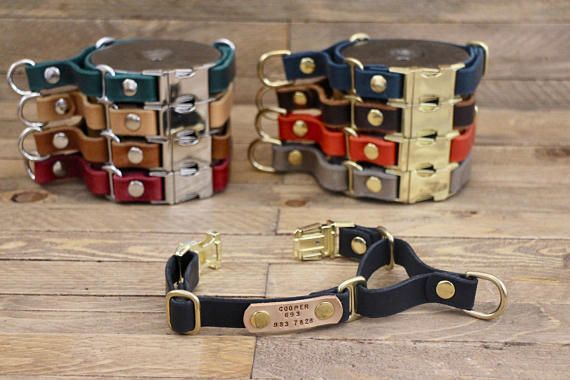 Martingale dog collar Black dog collar Leather dog collar