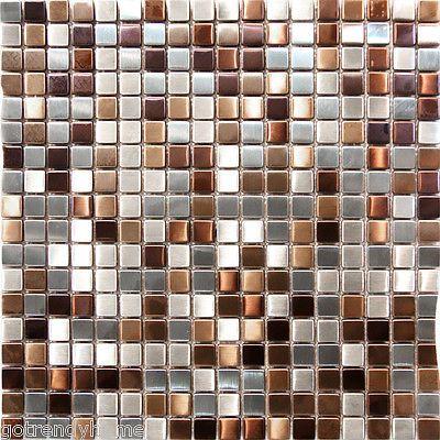 Sample Stainless Steel Metal Gold Silver Copper Mosaic Tile Kitchen Backsplash