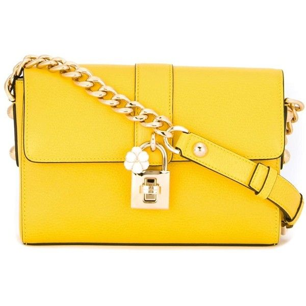 Dolce & Gabbana Shoulder Bag (£1,360) ❤ liked on Polyvore featuring bags, handbags, shoulder bags, yellow, purses, shoulder handbags, leather shoulder handbags, genuine leather shoulder bag, leather purses and leather hand bags