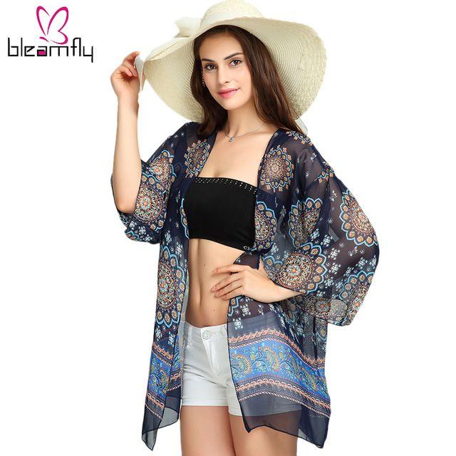 Summer 2017 Women Blusas Casual Loose Chiffon Blouse Shirts Bohemian Floral Printed  Kimono Cardigan Beach Outwear Plus Size
