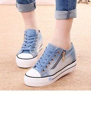 Frauen Flache Schuhe Geschlossene Zehe Keil Absatz Stoff Schuhe