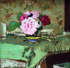 peinture française : Edouard Vuillard, bouquet de fleurs, 1907, vert pâle-rose
