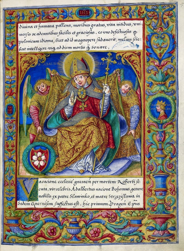 A leaf from the Catalogue of the Archbishops of Gniezno by Stanisław Samostrzelnik, 1530-1535 (PD-art/old), Biblioteka Narodowa, commissioned by Bishop Piotr Tomicki